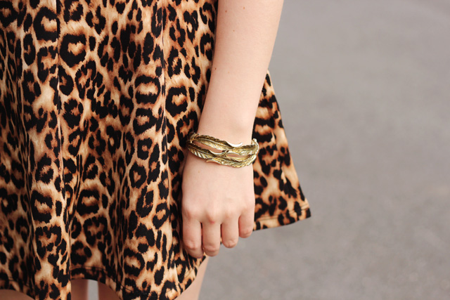 Leopard Print Skirt and Vintage Leaf Cuff Bracelet
