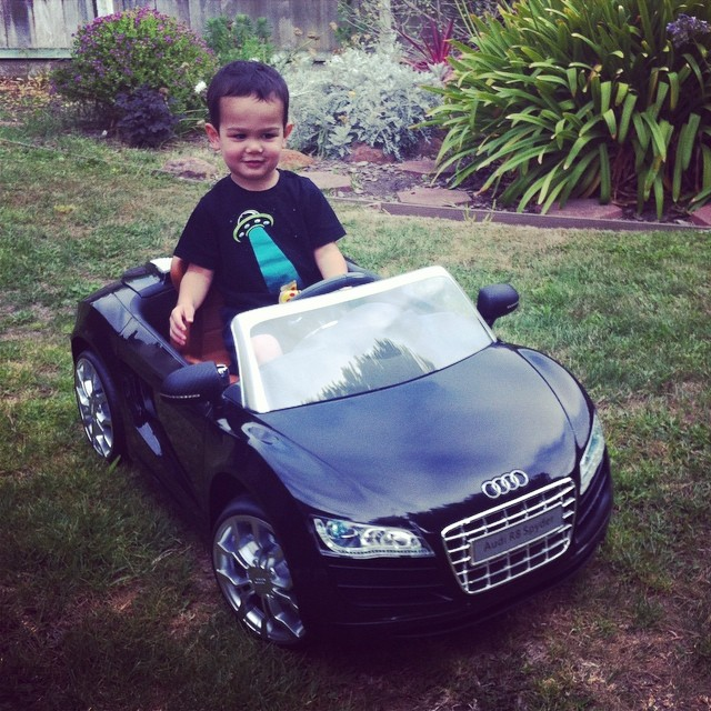 Someone got a brand new car... It's an Audi from Aunty Sue.
