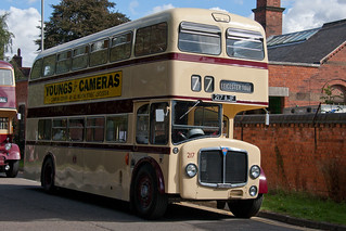 Leicester City Transport AEC Bridgemaster/Park Royal H43/31R 217 217AJF outside Abbey Pumping Station, Leicester