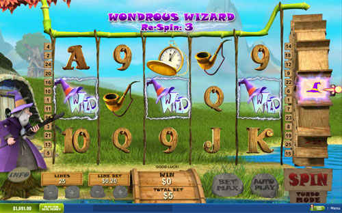 free Fortune Hill Wondrous Wizard Re-Spin Game
