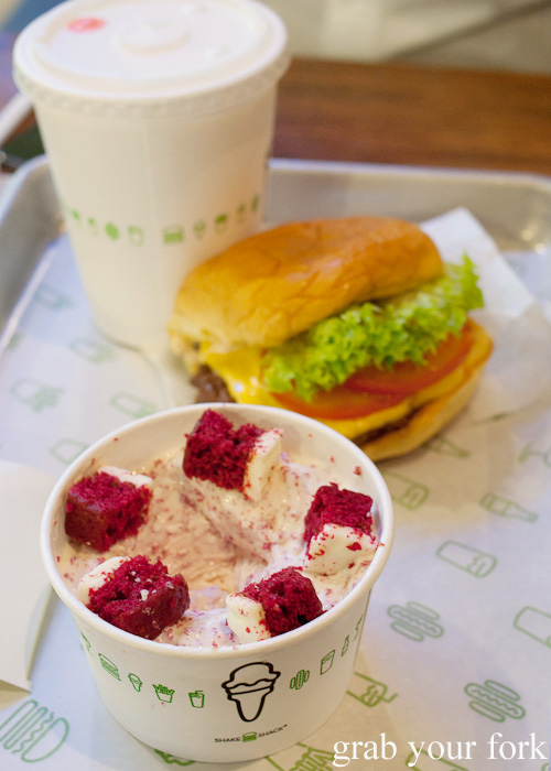 Red velvet concrete from Shake Shack at Mall of the Emirates in Dubai