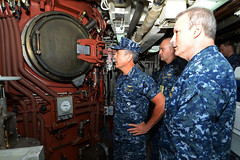 Adm. Harry Harris checks out the missile tubes aboard the ballistic missile submarine USS Louisiana (SSBN 743) with Rear Adm. Dietrich Kuhlmann, right, commander of Submarine Group 9, and Cmdr. Robert Peters, Louisiana's commanding officer. (U.S. Navy/MCC Ahron Arendes)