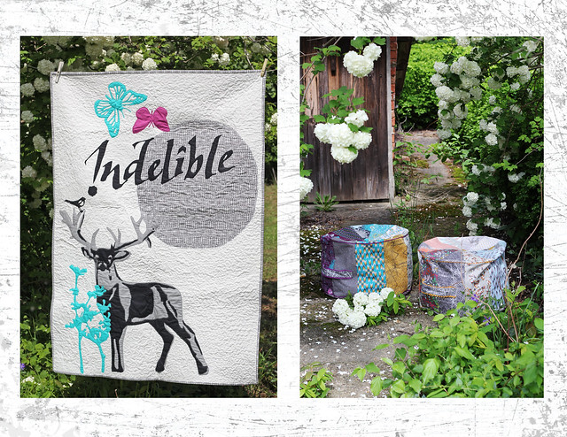 Indelible quilt and poufs