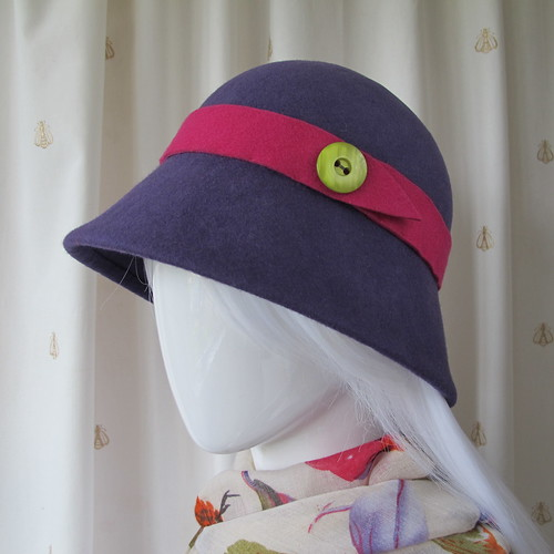 Purple cloche hat