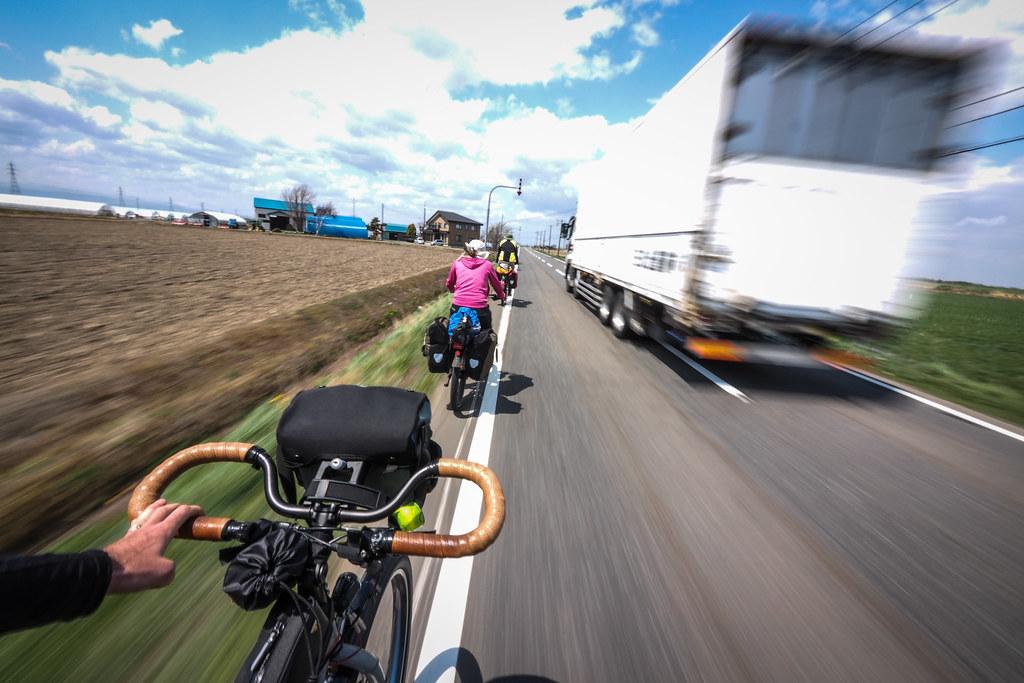 Main road cycle touring near Naganuma, Hokkaido, Japan
