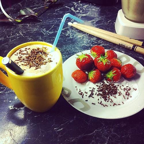 Milkshake, strawberries, & drumsticks. What more :3