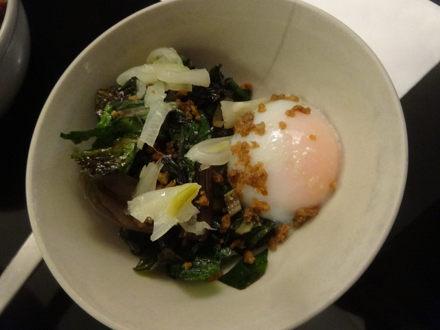 Poached egg, Swiss chard, buckwheat, braised onion.