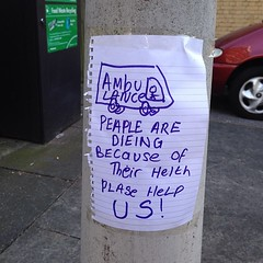 Ambulance: peaple are dieing because of their helth plase help us! #hackney #london