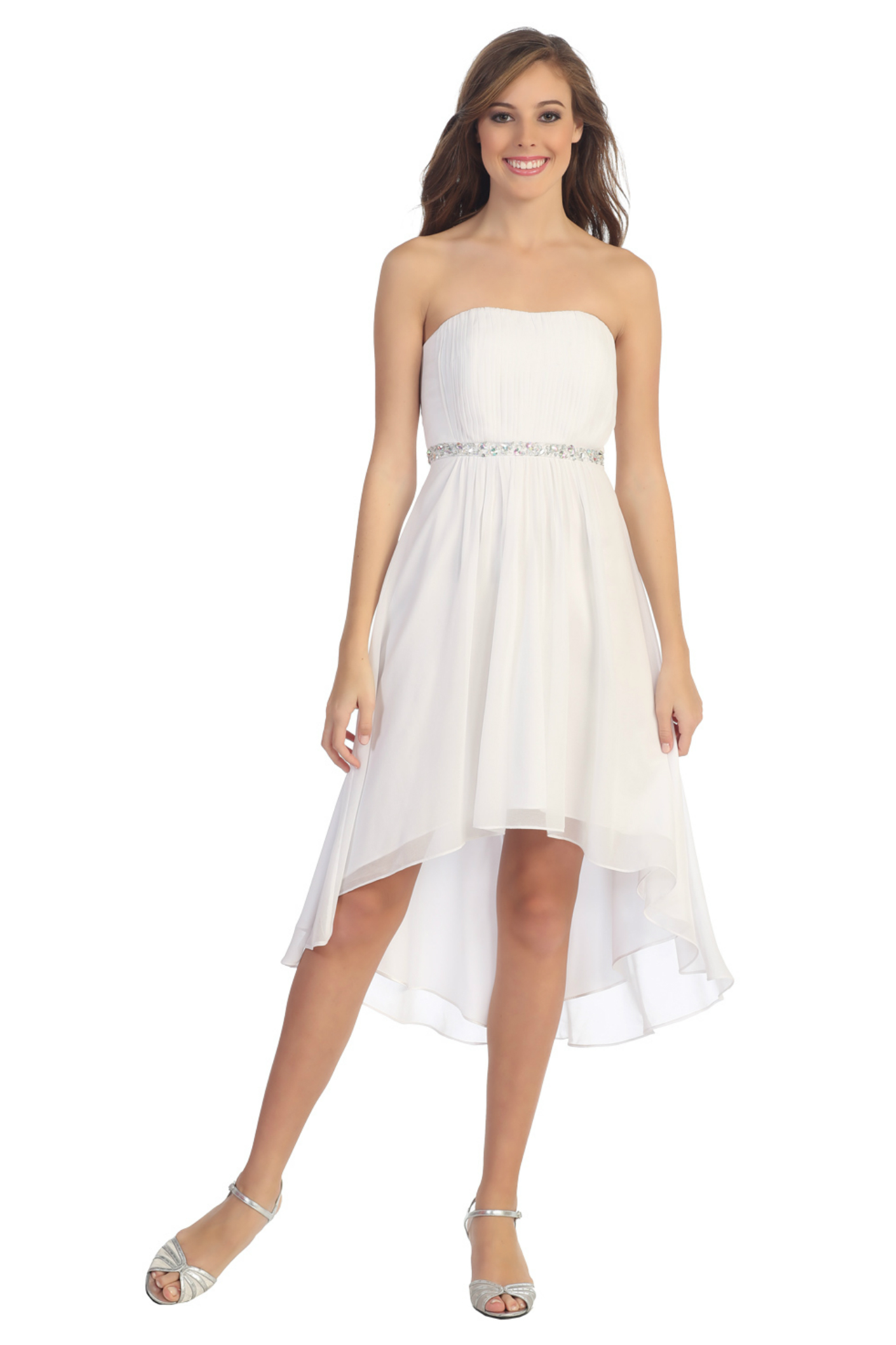 Strapless High Low Pleated Flowy Homecoming Prom