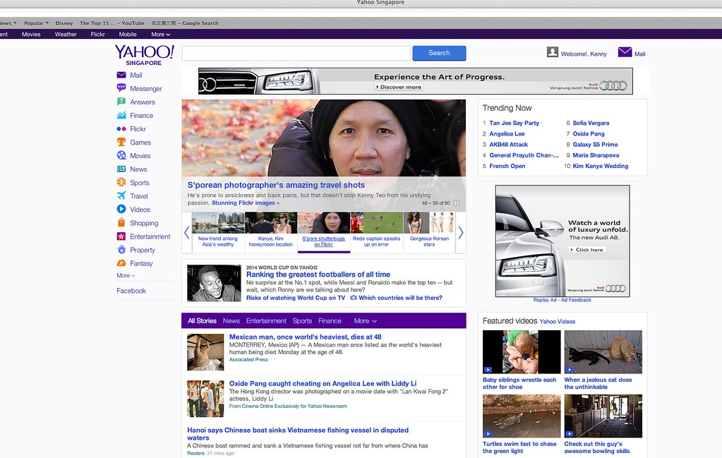 Yahoo front page | Click the link Singapore-weekly-flicker
