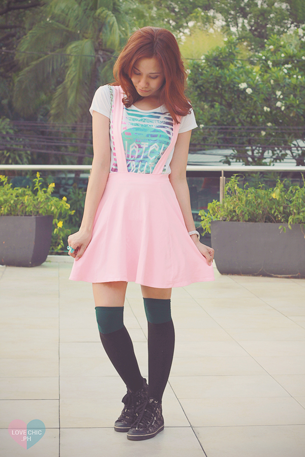 lovechic love chic shailagarde shai lagarde pink jumper skirt pastel summer tee knee high socks fashion style blogger asian 4