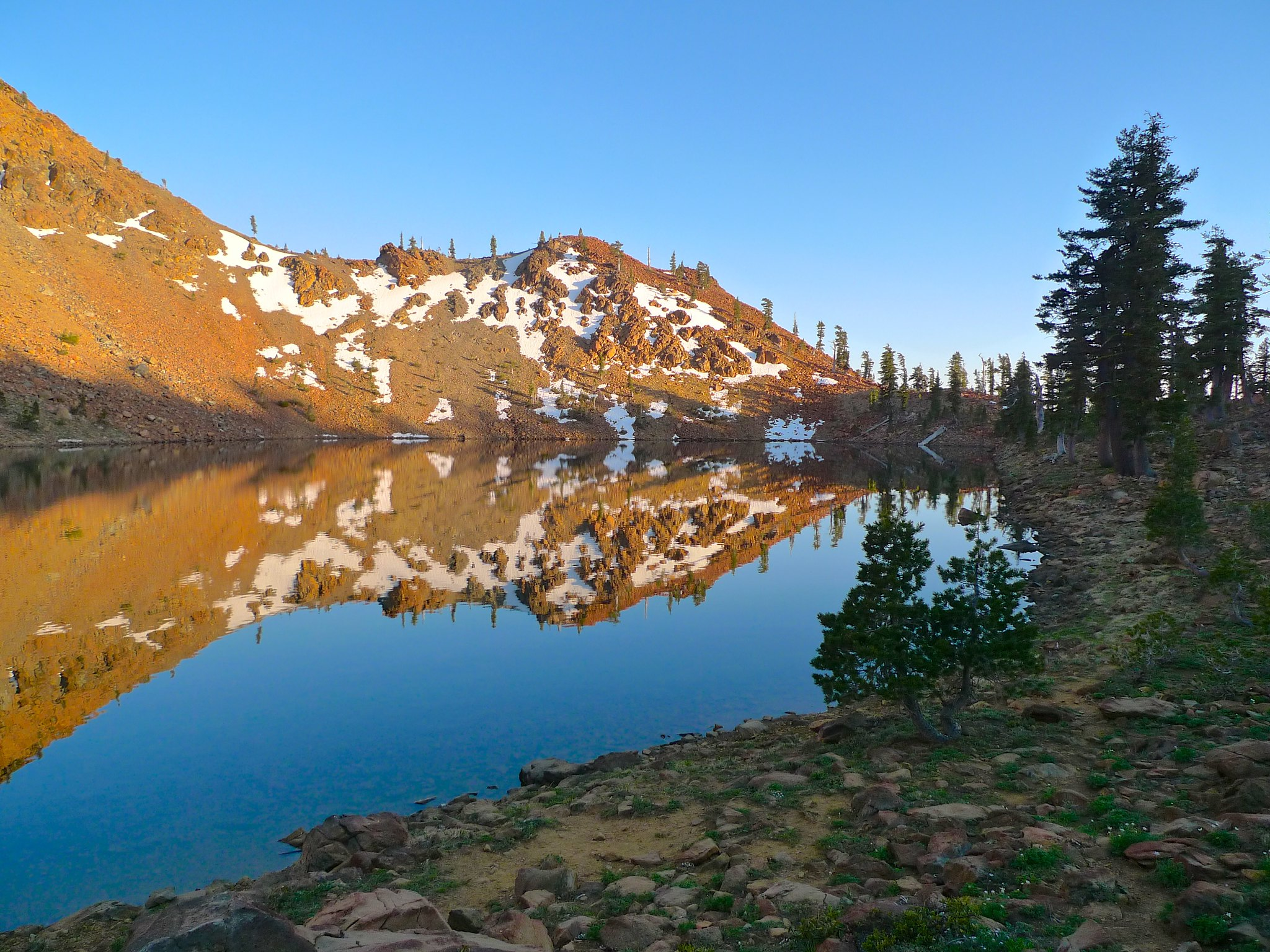 Sunset reflections at Summit Lake.