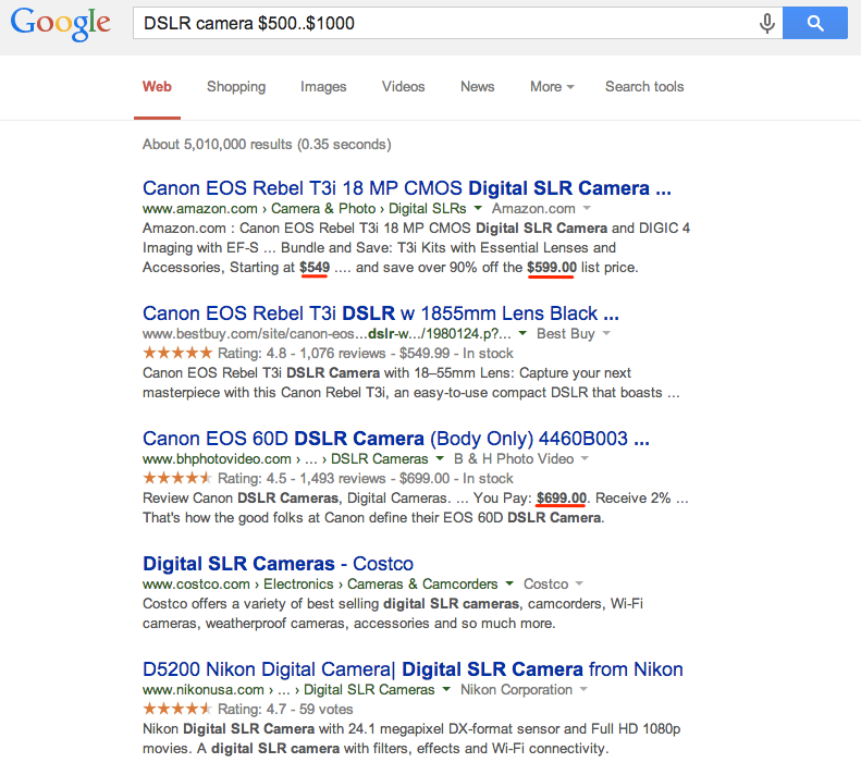 Google Search - Price Range