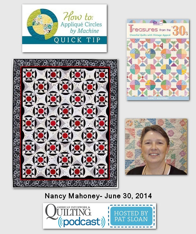 Pat Sloan American Patchwork and Quilting radio Nancy Mahoney june guest