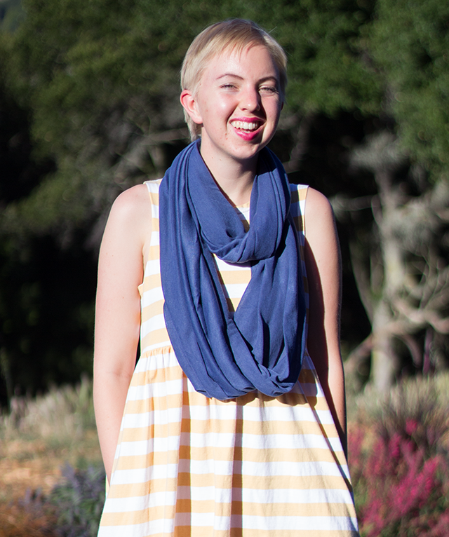 blue circle scarf, white and yellow striped sundress