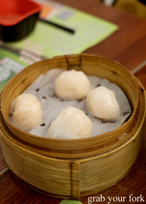 Har gow prawn dumplings at the Michelin-starred Tim Ho Wan, Sham Shui Po, Hong Kong