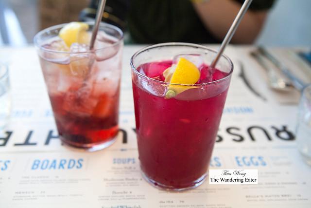 Concord grape soda (left) and beet shrub (right)