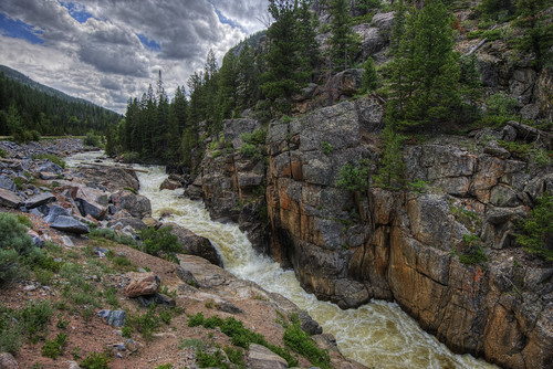 sky mountain tree nature water rock clouds forest river landscape waterfall log colorado fortcollins falls poudre 201407