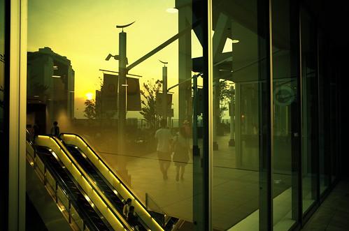 city railroad sunset station yellow japan cityscape railway 大阪 osaka gr 夕日 ricoh 駅 鉄道