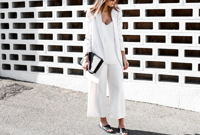 modern legacy fashion white on white street style blog Rodebjer Theyskens Theory wide culottes Camilla and Marc Zoya cami top Common Projects leather slide sandals Alexander Wang Prisma envelope clutch bag outfit work office wear (7 of 12)
