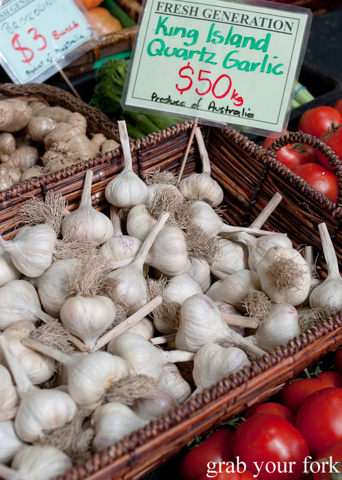 King Island quartz garlic at Queen Victoria Market, Melbourne