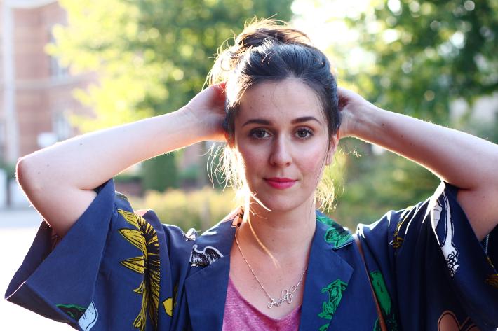 kimono top knot outfit style