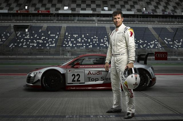 Felix Baumgartner poses for a portrait during a practice session with the Audi R8LMS in Lausitzring, Germany on November 28th, 2013 // Bernhard Spöttel / Audi / Red Bull Content Pool // P-20140307-00099 // Usage for editorial use only // Please go to www.