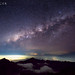 Milky way shining brightly above Rinjani Mountain, Lombok, Indonesia by SamKent22