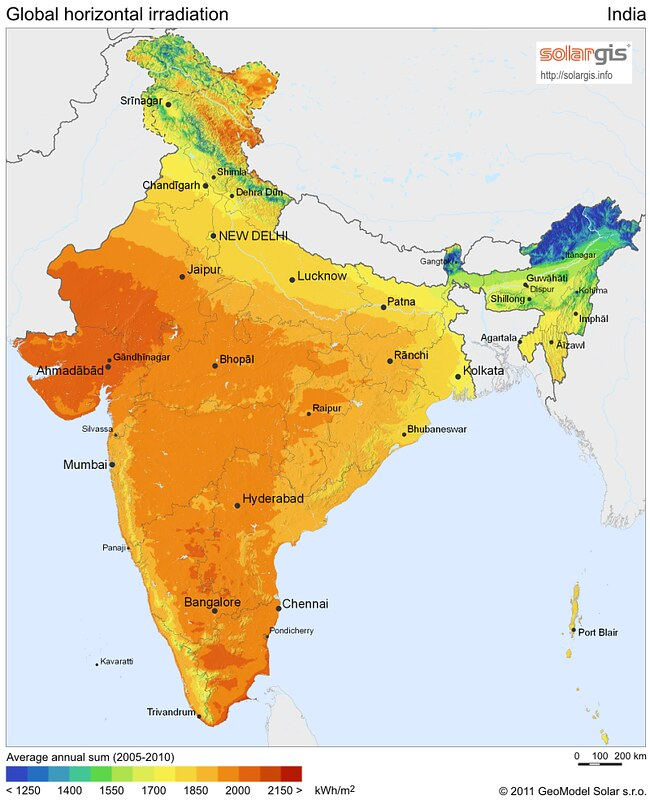 Solar potential map of India. Source: SolarGIS © 2014 GeoModel Sola