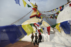 Stupa and Tibetan teenagers