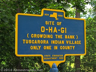 The sign for the O-Ha-Gi Tuscarora Indian Village Site, along the Genesee Valley Greenway, New York.