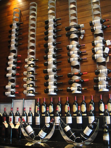 wine bottles on the wall