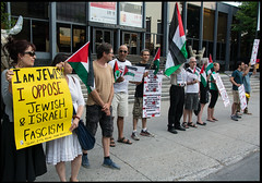 Jewish and Palestininas counter protest Zionist pro-Israel rally, Montreal July 21 2014