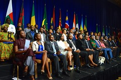 Participants of the Mandela Washington Fellowship for Young African Leaders listen as U.S. Secretary of State John Kerry delivers remarks at the Presidential Summit of the Washington Fellowship in Washington, D.C., on July 28, 2014. You can read the Secretary's remarks here: go.usa.gov/5eRB. [State Department photo/ Public Domain]
