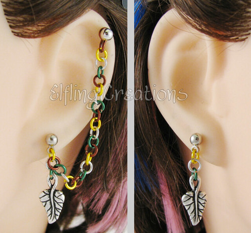 Green, Gold, Silver, and Brown Leaf Cartilage Chain Earring with Barbell Cartilage Piercing