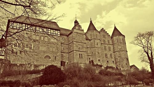 schloss deutschland schleusingen castle henneberg germany historic history thüringen thuringia tourism sepia