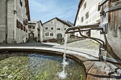 Krásná vesnička Guarda stitulem švýcarská vesniceroku