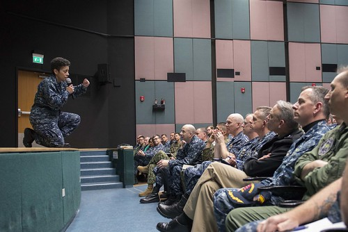 Fri, 03/17/2017 - 13:47 - 170317-N-MZ309-076 NAVAL SUPPORT ACTIVITY NAPLES, Italy (March 17, 2017) Commander, U.S. Naval Forces Europe-Africa Adm. Michelle J. Howard holds a Commander's Call with Fleet Master Chief Raymond D. Kemp for senior leadership at Naval Support Activity Naples, Italy, March 17, 2017. U.S. Naval Forces Europe-Africa, headquartered in Naples, Italy, oversees joint and naval operations, often in concert with allied, joint, and interagency partners, to enable enduring relationships and increase vigilance and resilience in Europe and Africa. (U.S. Navy photo by Mass Communication Specialist 1st Class Ryan Riley/Released)
