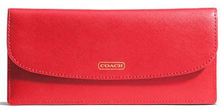 Coach Darcy Saffiano wallet red