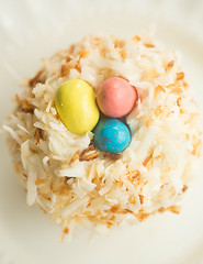 Coconut cupcakes topped with Robin Eggs malted milk balls