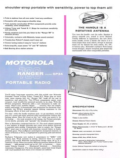 MOTOROLA Portable Radio Dealer Sheet Model Ranger 700 - 6P34 (USA 1957)_2