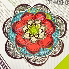 Paperkrafts: doodled paper pieces flowers  - step by step layering 6
