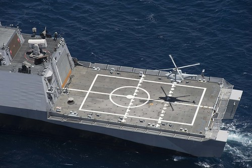 Navy Conducts Initial Fire Scout, H-60 Helicopter Demonstration Aboard LCS