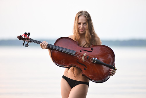 sunset summer portrait lake water girl smile hair evening nice calm cello