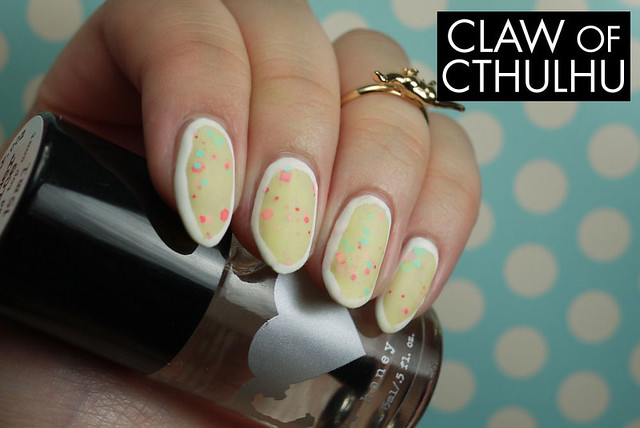 Rainbow Honey Petit Four Swatch (with OPI Matte Top Coat and Kiss White Striper Outlines)