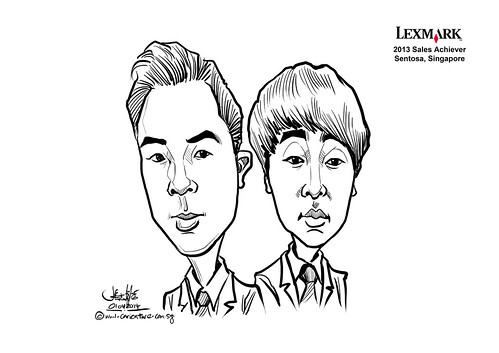 digital couple caricatures for Lexmark - Yoon Jeong Hwan