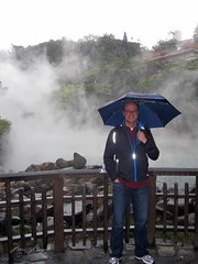 Dan outside the Thermal Valley. Lots of steam from the rain.