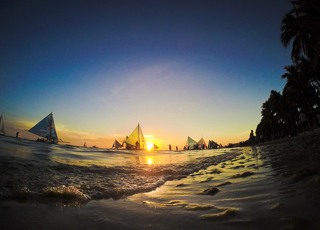 sunset, sea, summer, gopro