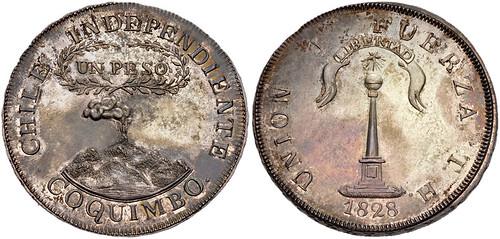 97Chile, 1828 H Coquimbo Peso0747