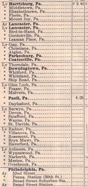 PRR 1950 Harrisburg Schedule